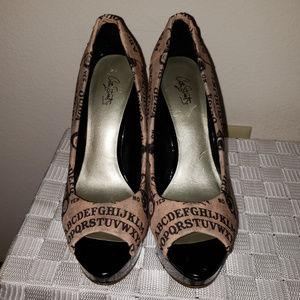 a844c6918173 Ouija Shoes - OUIJA Board OOAK Open Toe Heels